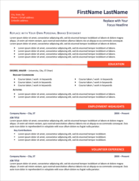 Bright Entry Resume Template